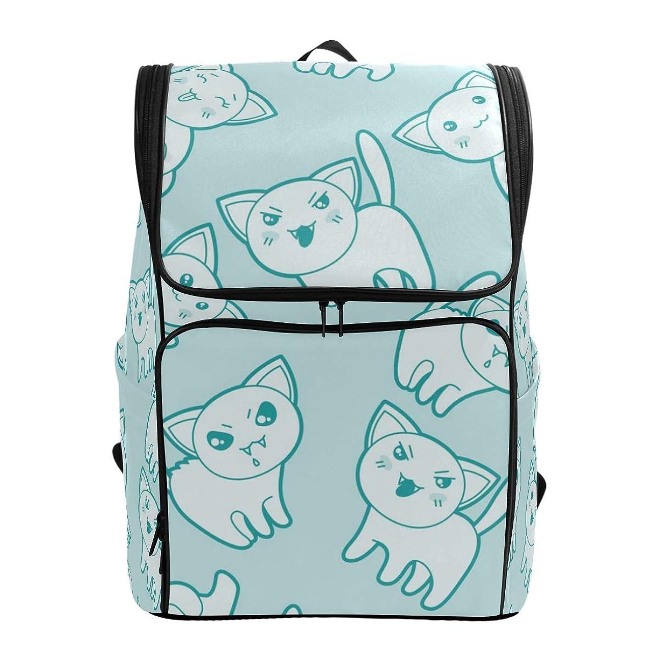救急車電卓ナイロンマキク(MAKIKU) リュック 大容量 可愛い 猫モチーフ ブルー リュックサック 軽量 メンズ 登山 通学 通勤 旅行 プレゼント対応