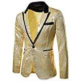 Mens Sequin Blazer Slim Fit Suit Jacket One Button Blazer Sports Coat Gold