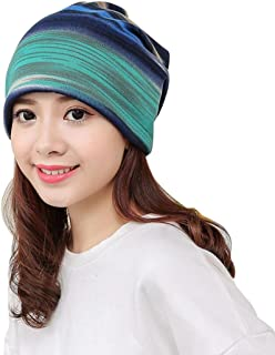Lavany Elegant Womens tripe Hat Ruffle Cancer Hat Beanie Turban Head Wrap Cap