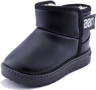 SENFI Boy's Girl's Waterproof Fur Lining Flat Short Ankle Winter Snow Boots(Toddler/Little Kid)