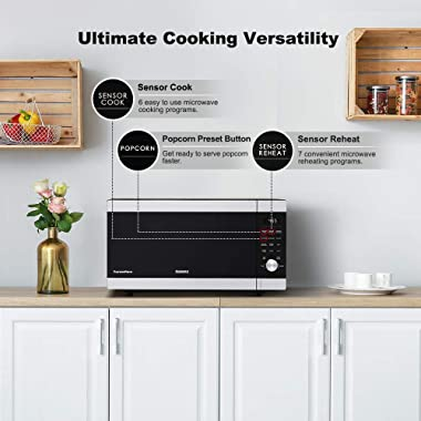 Galanz ExpressWave Sensor Microwave Oven, Patented Inverter Technology, 10 Variable Power Levels, Express Cooking Knob, Stain