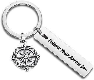 Gzrlyf Follow Your Arrow Key Ring Compass Charm Keychain