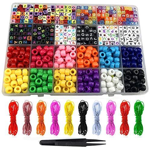 Timagebreze 1000 Piezas de Cuentas de Bricolaje para NiiOs Cuentas de Letras de Colores para la FabricacióN de Joyas de Pulsera de Collar con Cordones de Hilo de Cristal EláSticos