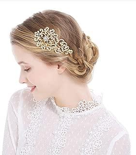 Birthday Princess Tiara Side Comb Hair Clips Jeweled Prom Tiara Headband Wedding Bridal Headpiece Jewelry for Women (Gold)