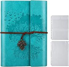 Anteckningsbok i PU-läder, tomma sidor påfyllningsbar vintage skissbok resa anteckningsbok dagbok present för flickor pojk...
