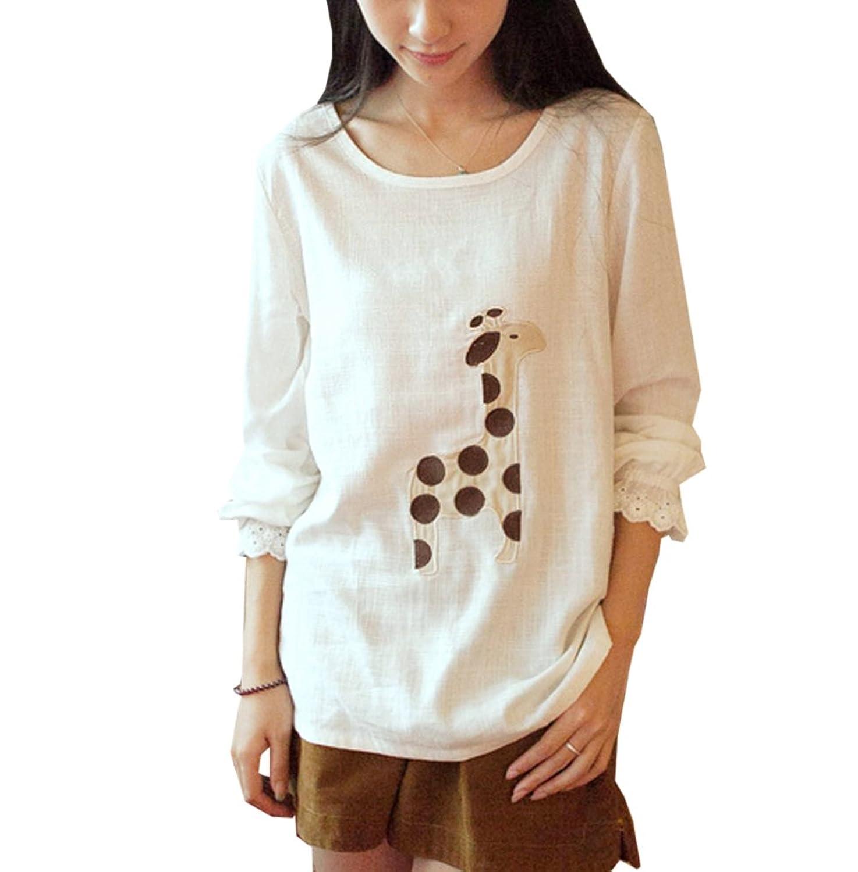 [美しいです] レディース Tシャツ 上着 セーター プリント レジャー 春 夏 秋 冬 和風 シカの柄