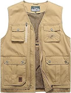XXT Pocket Vest Cotton Men's Spring and Autumn Thin Section Sports and Leisure Multi-Pocket Vest Practicality (Color : Khaki, Size : 8XL)