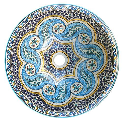 L'ORIENT Interior Marokkanisches Keramikwaschbecken | Vintage | Ø:40cm | handbemaltes marokkanisches Waschbecken aus der Königsstadt FES