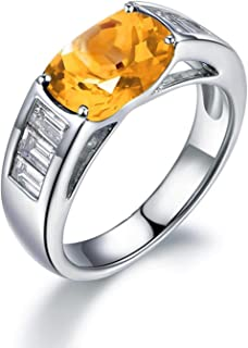 KnSam Sterling Silver Jewelry Ring for Women Fashion Oval Cut Citrine 11x9MM