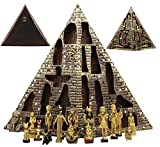 Ebros Egyptian Monument Pyramid Display Statue Featuring 16 Miniature Gods Anubis Osiris Maat Isis Bastet Sekhmet Obelilsk Sphinx and More For Educational And Decorative Centerpiece