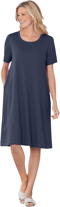 Woman Within Women's Plus Size Short-Sleeve Crewneck Tee Dress