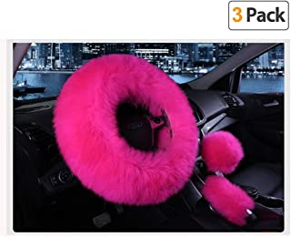Younglingn Car Steering Wheel Cover Gear Shift Handbrake Fuzzy Cover 1 Set 3 Pcs Multi-colored with Winter Warm Pure Wool Fashion for Girl Women Ladies Universal Fit Most Car(Rose red)