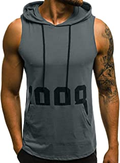 Foowni Men Fitness Muscle Print Sleeveless Hooded Bodybuilding Pocket Tight-drying Tops