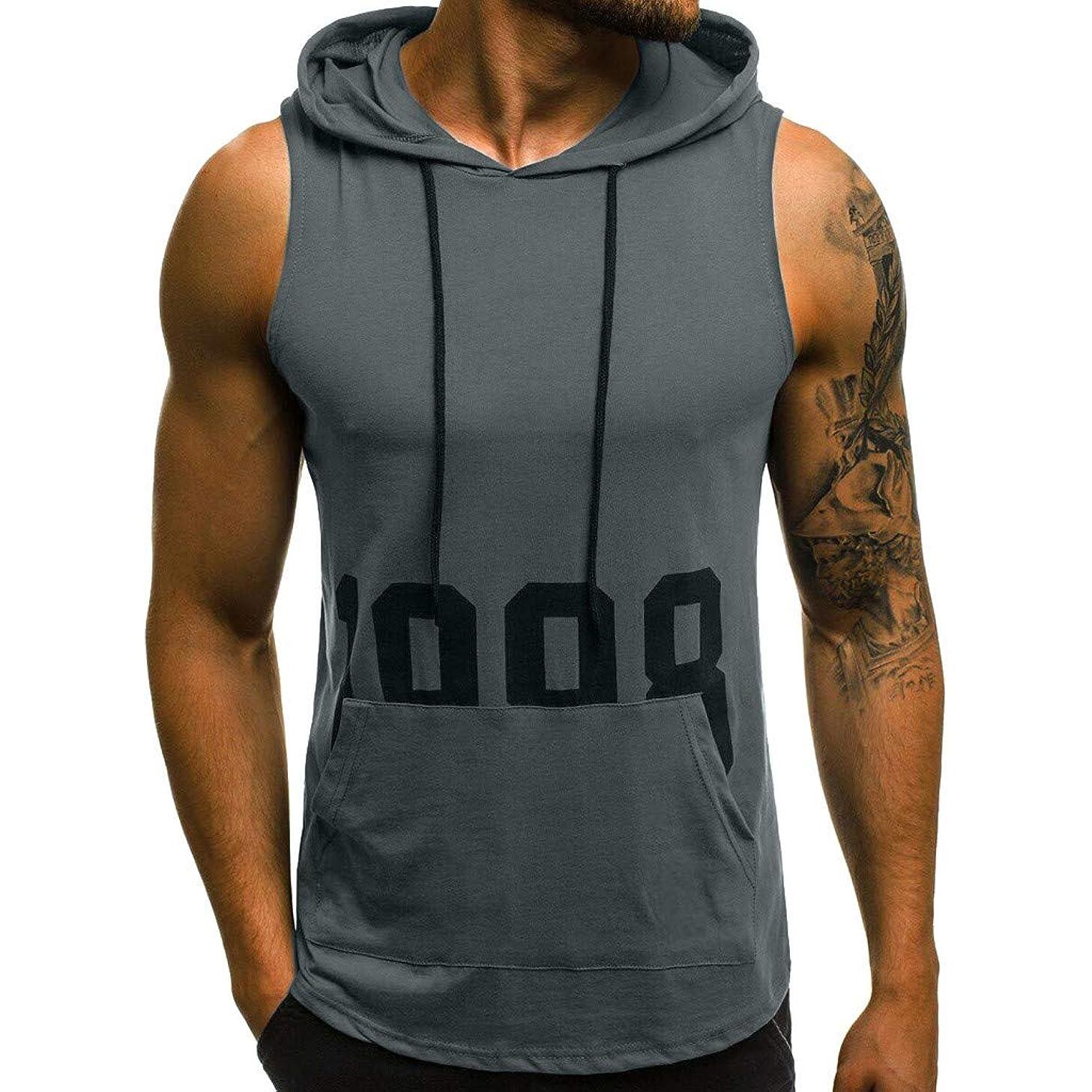 GONKOMA Men's Tank Tops Men Casual Fitness Muscle Print Sleeveless Hooded Bodybuilding Slim Fit Tops