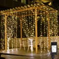 LE 306 LED Curtain Lights, 9.8 x 9.8 ft, 8 Modes Plug in Fairy String Lights, Warm White Indoor Outdoor Decorative Christmas Twinkle Lights for Bedroom, Parties, Wedding Backdrop, Dorm, Patio and More