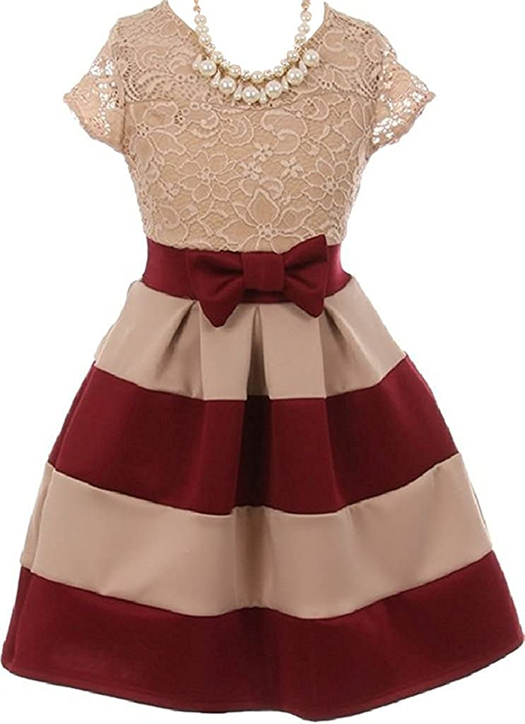 iGirlDress Lace Bow Stripe Necklace Little Girl Flower Girls Dresses (Size 2-14)