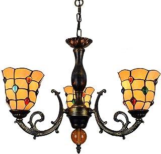 OUJIE Tiffany Colorear Lámpara Araña, Rompecabezas Amarillo Aleación HierroArte Vidrio 3 Brazos Araña Luces, Sala Estar Dormitorio Comedor Lampara Ahorro De Energia