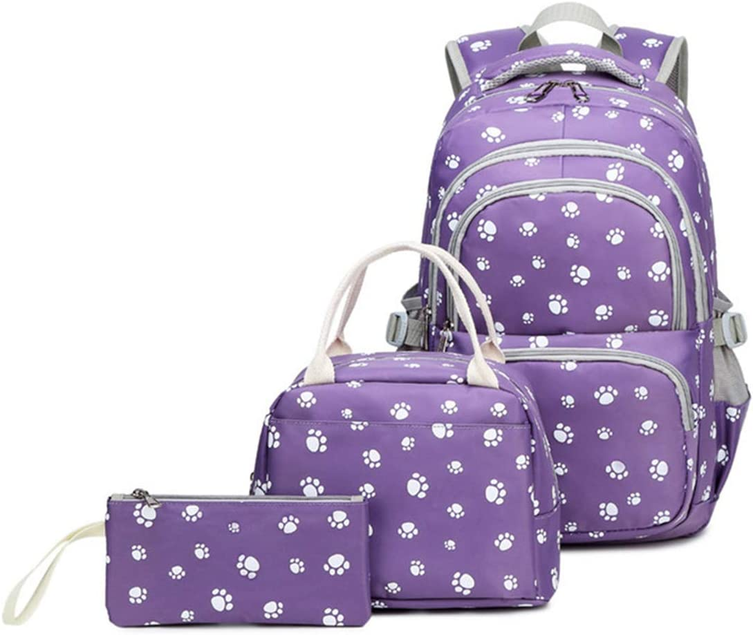 Fanci 3Pcs Lovely Dog Paw Prints Junior Schoolbag Bookbag for Teens Girls Primary School Backpack Set with Lunch Kits