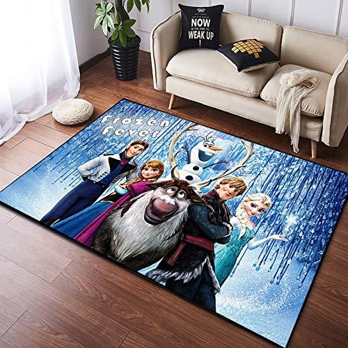chengcheng Alfombra Frozen Anime Chica Dormitorio Alfombrilla Habitación para niños Alfombra Antideslizante Princesa de Dibujos Animados 80x150cm