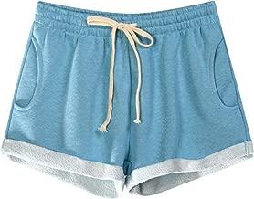 JOFOW Womens Sports Shorts Summer Elastic Drawstring Tie SolidLoose Comfy Mini Pants