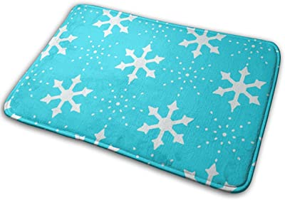 White Snowflakes Carpet Non-Slip Welcome Front Doormat Entryway Carpet Washable Outdoor Indoor Mat Room Rug 15.7 X 23.6 inch