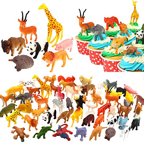 Yeonha Toys Animals Figure, 80 Piece Mini Safari Jungle Animals and Farm Animal Toys Set, Realistic Wild Vinyl Plastic Animal Learning Toys for Boys Girls Kids Toddlers Forest Party Favors Giveaway