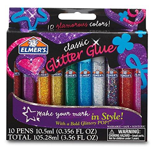 Elmer's 3D Washable Glitter Glue Pens 10/Pkg-Classic Rainbow