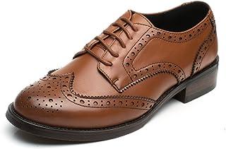 [Placck] レースアップ レディース シューズ 本革 通勤 ローヒール オックスフォード シューズ 大きいサイズ 美脚 歩きやすい