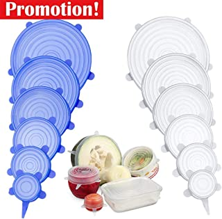12 Pack Silicone Stretch Lids - Stretchy and Oderless