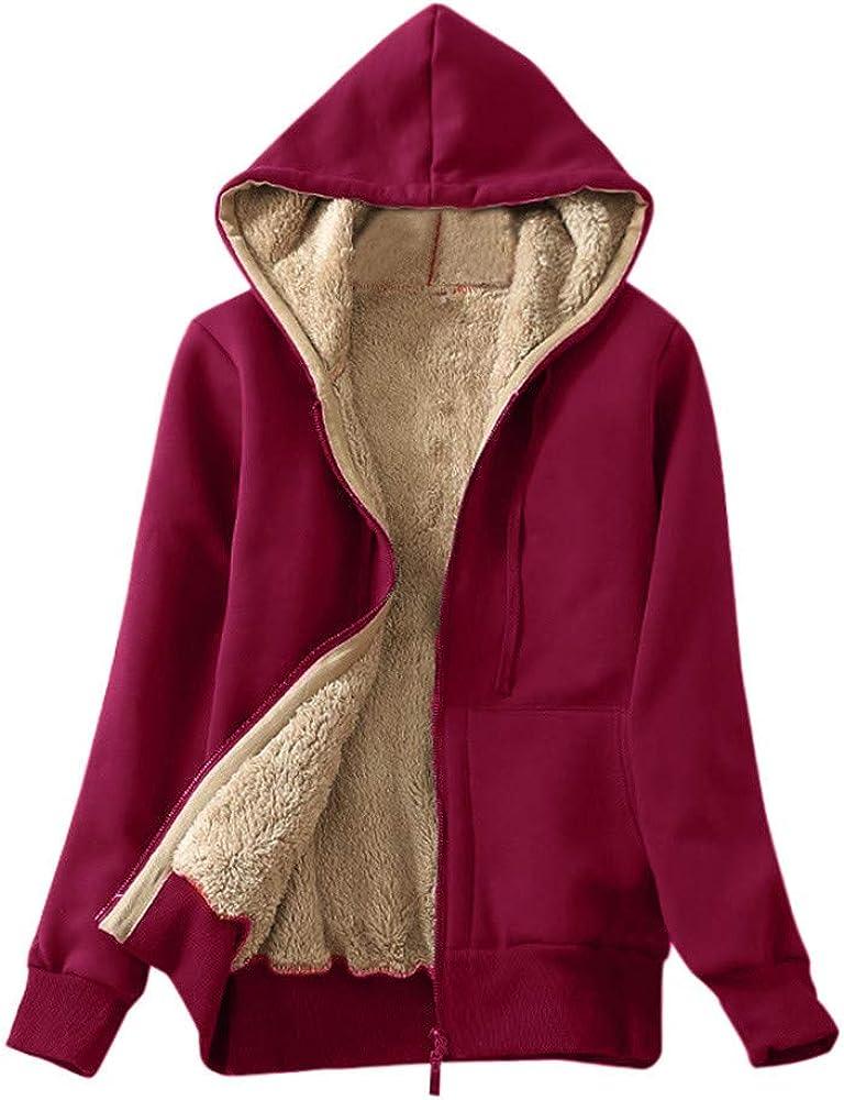 Women's Faux Fur Lining Coat Windbreaker Winter Warm Thick Mid Length Ladies Outwear Hooded Overcoat Trench Jacket Tops