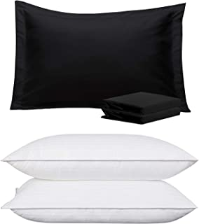 NTBAY Bundle of Pillow Shams and Queen Size Pillows, Black