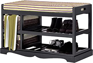 Giantex Shoe Bench Rack with Upholstered Padded Seat Storage Shelf Origanizer Bench with 2 Baskets for Bedroom Entryway Living Room (Black)