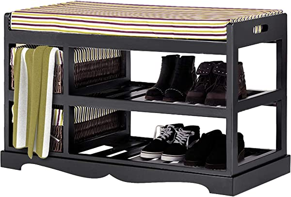 Giantex Shoe Bench Rack With Upholstered Padded Seat Storage Shelf Origanizer Bench With 2 Baskets For Bedroom Entryway Living Room Black