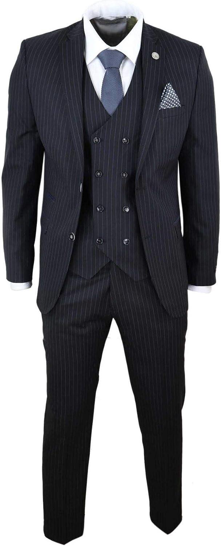Mens 3 Piece Suit Gatsby 1920s Mafia Pinstripe Tailored Fit Retro
