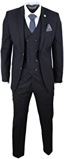 Mens 3 Piece Suit Gatsby 1920s Gangster Pinstripe Tailored Fit