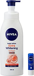 Nivea Extra Whitening SPF 15 Body Lotion, 400ml with Essential Lip Balm, 4.8g