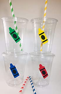 Crayon Party Cups Set of 12 With Lids Straws