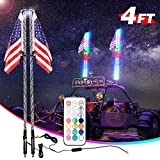 LED Whip Lights, 2 Pack AKD Part 4FT RF Remote Control with Flag UTV Antenna Light Chasing Light RGB Off Road Neon Light LED Whips for ATV Jeep RZR Yamaha Sand Dune