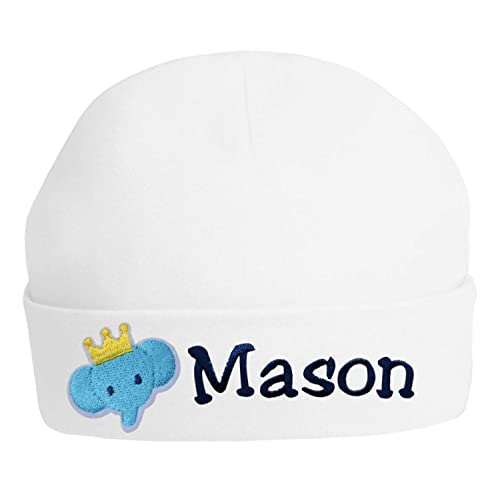 e0132d8de44 Personalized Embroidered Baby Boys Keepsake Hat with ELEPHANT From Funny  Girl Designs YOUR TEXT (WHITE