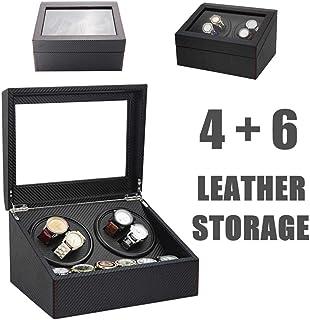 4+6 Automatic Watch Winder Wooden Dual Automatic 2 Motor Storage Case Box Organizer Display Rack Stand Watch Box Black, ca...