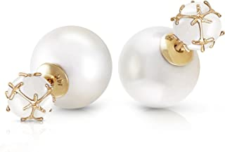 14k Solid Yellow Gold Fine Jewelry Fashion Style Shell 66.40 Carat Total Pearl and Opal Stud Earrings High Polished Brilliant Vibrant Genuine