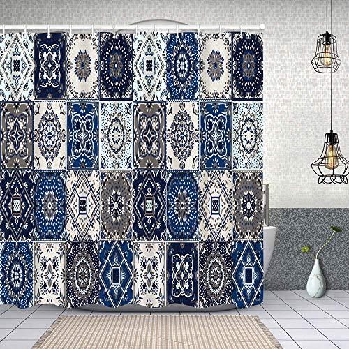 Starodec Cortina de Ducha Impermeable patrón de Talavera Mosaico Indio Azulejos Portugal Cortinas baño con Ganchos Lavable a Máquina 72x72 Inch