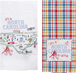 2 Piece Kay Dee Home State of North Carolina Embroidered Kitchen Towel Bundle