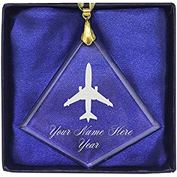 LaserGram Christmas Ornament Round Shape Jet Airplane Personalized Engraving Included