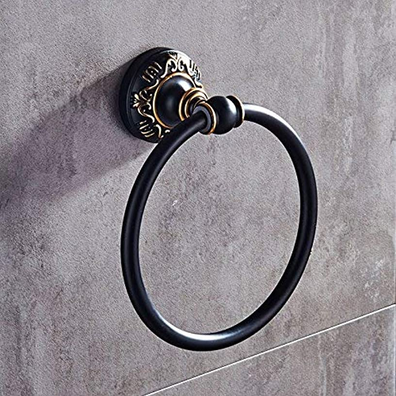 LUHEN Antique Bath Towel Ring Bathroom Round Towel Ring Space Aluminum Bathroom Towel Ring Frame (Color : Black Antique)