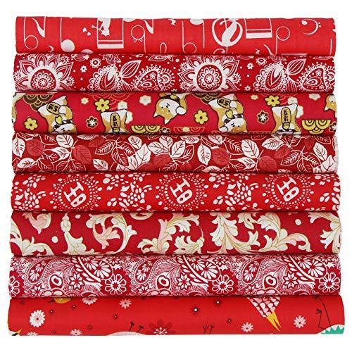 8piezas Tela algodón Telas Patchwork 50x50cm Cuadrada Algodón Para Coser Telas Decorativas Costura Retales Tela Coser Hecho a mano Costura Quilting Scrapbooking Diseños Diferentes (Rojo)