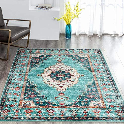 Taleta Durham-Kollektion Orientalischer Teppich mit Medaillon Vintage Wohnzimmer Grün Größe:120 x 170 cm
