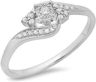 0.20 Carat (ctw) 10K Gold Round Diamond Ladies Twisted Swirl Promise Engagement Ring 1/5 CT