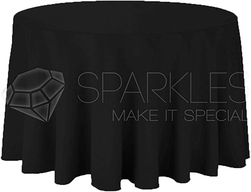 Sparkles Make It Special 10 Pcs 120 Inch Round Polyester Cloth Fabric Linen Tablecloth Wedding Reception Restaurant Banquet Party Machine Washable Choice Of Color Black