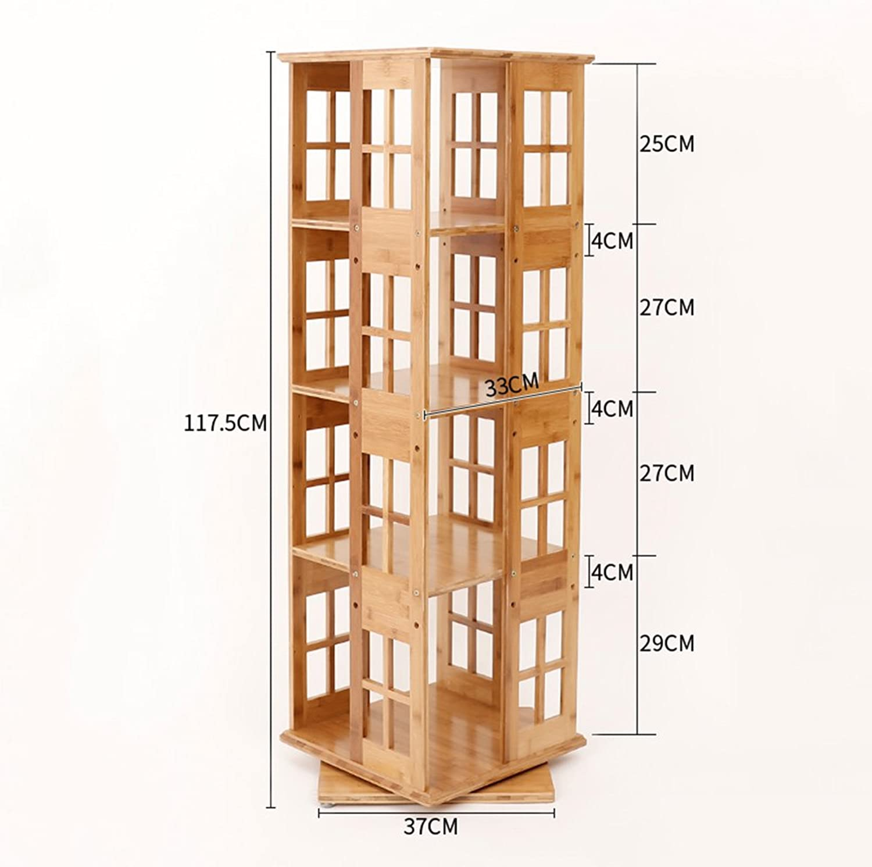 el precio más bajo Biblioteca Sexy Sexy Sexy Librería de Madera 3 4 5 6 Niveles gradas de bambú hogar Informal Giratorio estantería Moderna Simple Estante de Almacenamiento gabinete (Tamaño   37  37  117.5cm)  suministro de productos de calidad